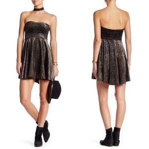 FREE PEOPLE Shattered Velvet Minidress in Black